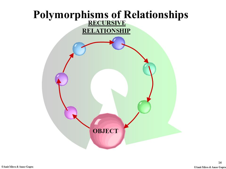 16 ©Amit Mitra & Amar Gupta RELATIONSHIP RECURSIVE Polymorphisms of Relationships OBJECT