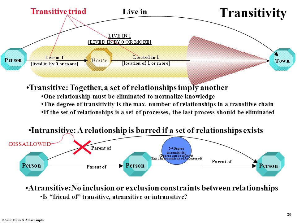 20 ©Amit Mitra & Amar Gupta 2 nd Degree intransitivity Transitivity Transitive: Together, a set of relationships imply another One relationship must be eliminated to normalize knowledge The degree of transitivity is the max.
