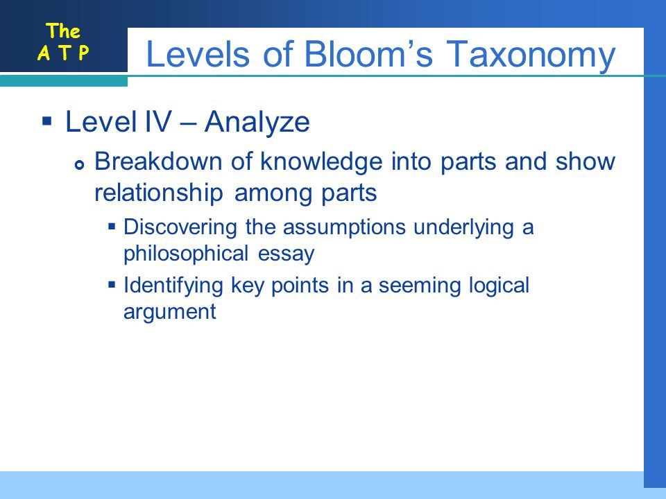 The A T P Levels of Blooms Taxonomy Level IV – Analyze Breakdown of knowledge into parts and show relationship among parts Discovering the assumptions underlying a philosophical essay Identifying key points in a seeming logical argument
