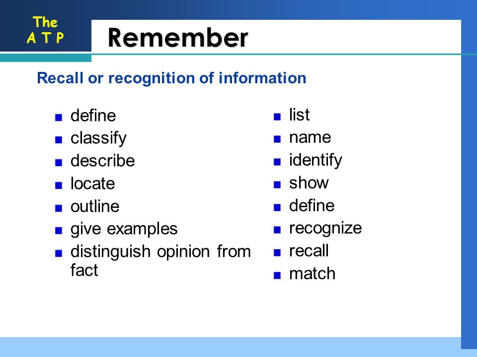 The A T P Remember Recall or recognition of information list name identify show define recognize recall match define classify describe locate outline