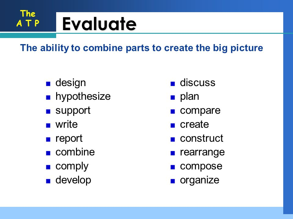 The A T P Evaluate The ability to combine parts to create the big picture discuss plan compare create construct rearrange compose organize design hypo