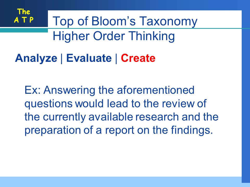 The A T P Analyze | Evaluate | Create Ex: Answering the aforementioned questions would lead to the review of the currently available research and the