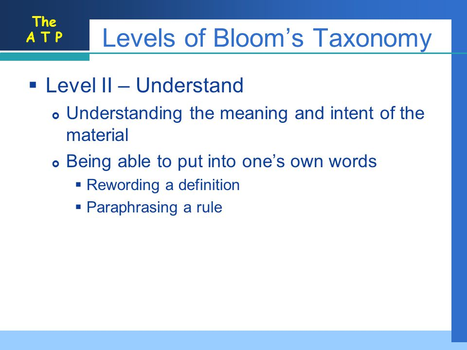 The A T P Levels of Blooms Taxonomy Level II – Understand Understanding the meaning and intent of the material Being able to put into ones own words R