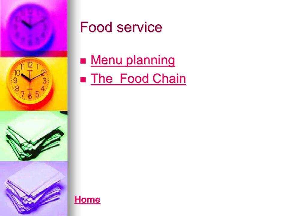 Food service Menu planning Menu planning Menu planning Menu planning The Food Chain The Food Chain The Food Chain The Food Chain Home