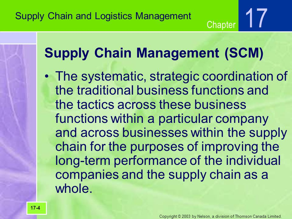 Chapter Copyright © 2003 by Nelson, a division of Thomson Canada Limited. Supply Chain Management (SCM) The systematic, strategic coordination of the