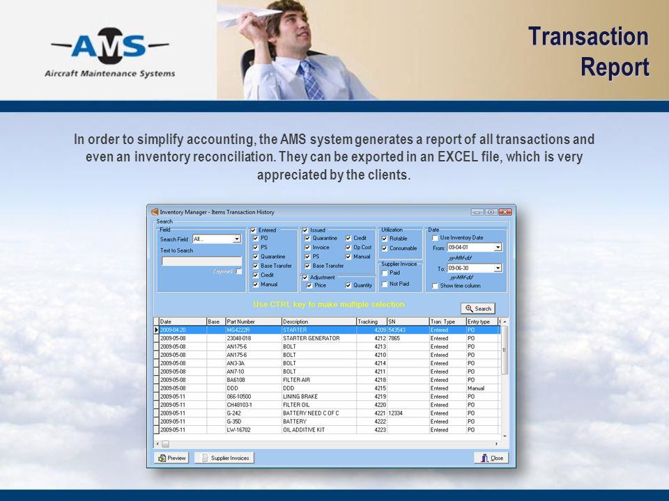 Transaction Report In order to simplify accounting, the AMS system generates a report of all transactions and even an inventory reconciliation. They c