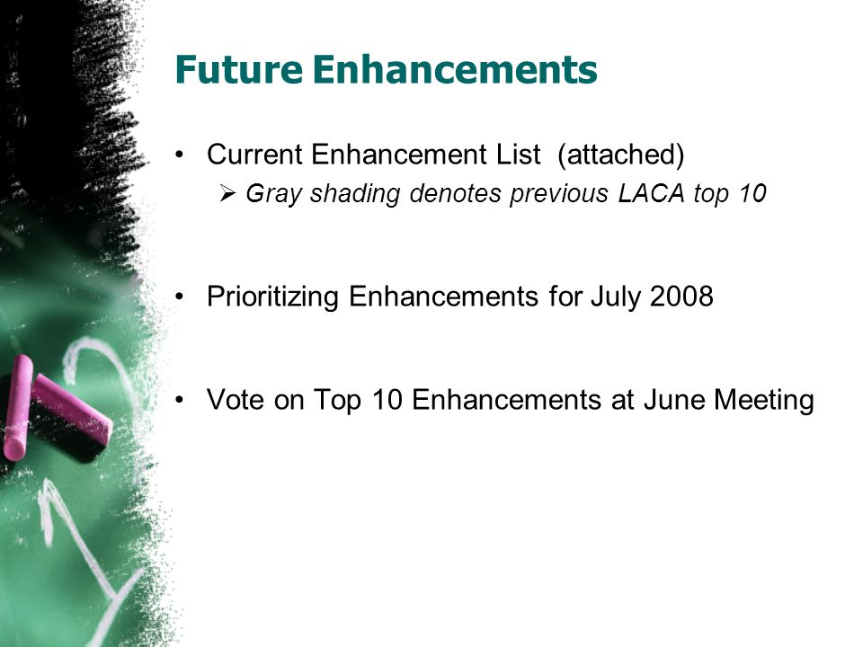 Future Enhancements Current Enhancement List (attached) Gray shading denotes previous LACA top 10 Prioritizing Enhancements for July 2008 Vote on Top 10 Enhancements at June Meeting
