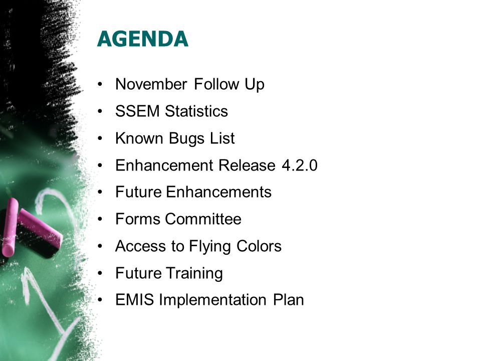 AGENDA November Follow Up SSEM Statistics Known Bugs List Enhancement Release 4.2.0 Future Enhancements Forms Committee Access to Flying Colors Future Training EMIS Implementation Plan