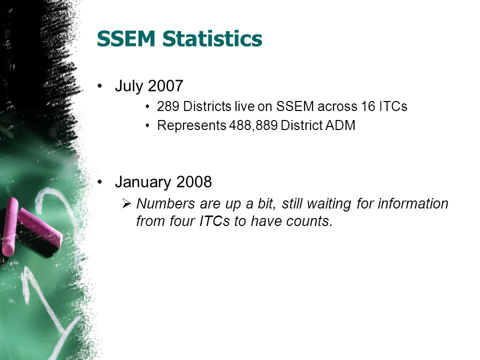 SSEM Statistics July 2007 289 Districts live on SSEM across 16 ITCs Represents 488,889 District ADM January 2008 Numbers are up a bit, still waiting for information from four ITCs to have counts.