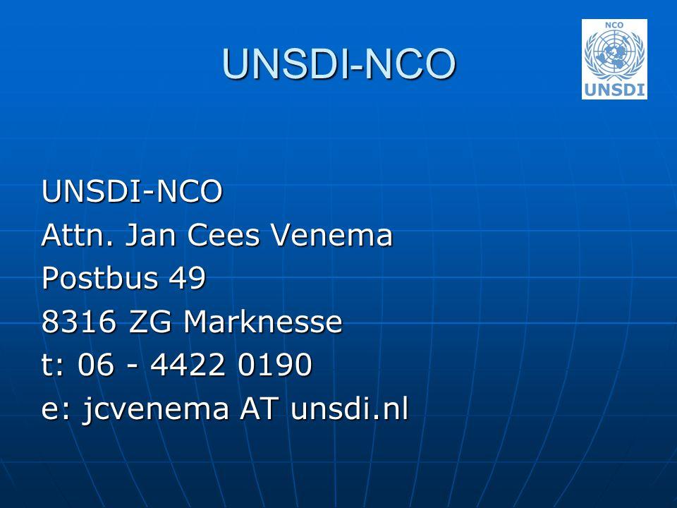 UNSDI-NCO UNSDI-NCO Attn. Jan Cees Venema Postbus 49 8316 ZG Marknesse t: 06 - 4422 0190 e: jcvenema AT unsdi.nl