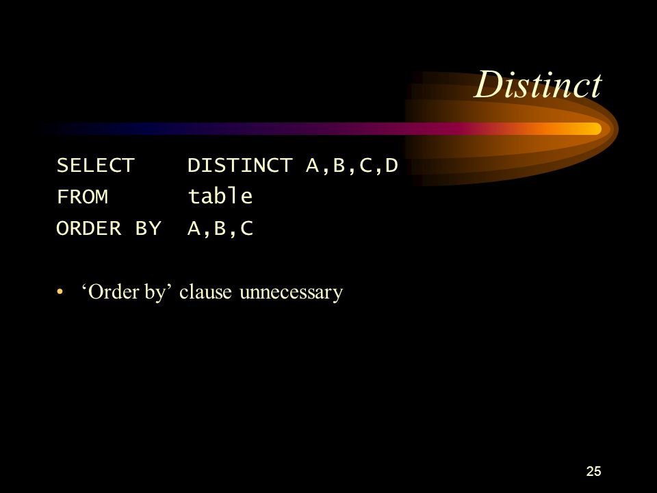 25 Distinct SELECTDISTINCT A,B,C,D FROMtable ORDER BY A,B,C Order by clause unnecessary