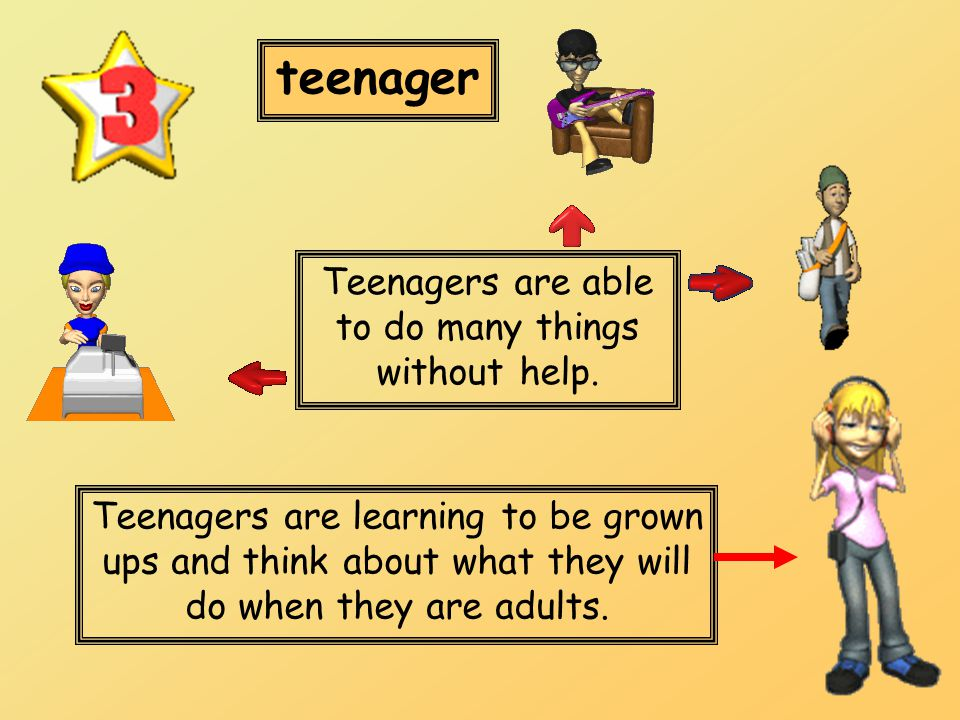 teenager Teenagers are learning to be grown ups and think about what they will do when they are adults. Teenagers are able to do many things without h