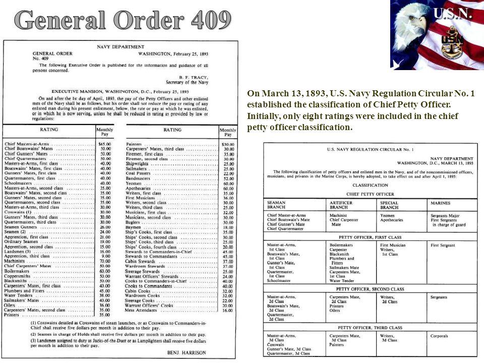 On March 13, 1893, U.S.Navy Regulation Circular No.