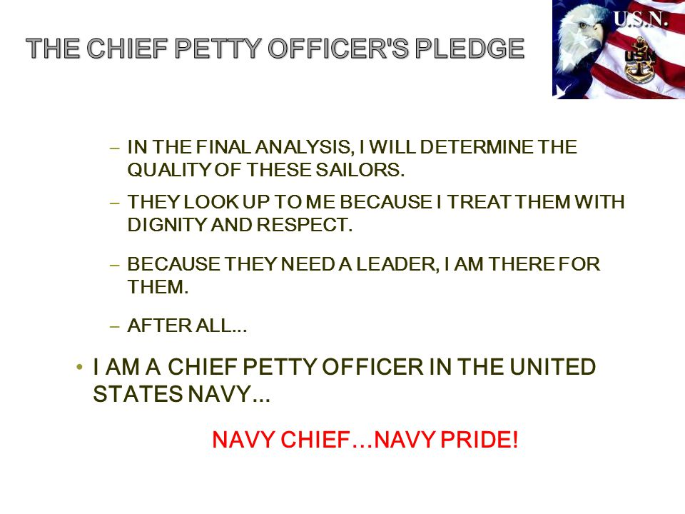–IN THE FINAL ANALYSIS, I WILL DETERMINE THE QUALITY OF THESE SAILORS.