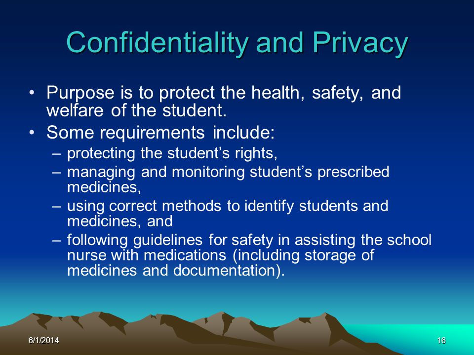 6/1/201416 Purpose is to protect the health, safety, and welfare of the student. Some requirements include: –protecting the students rights, –managing