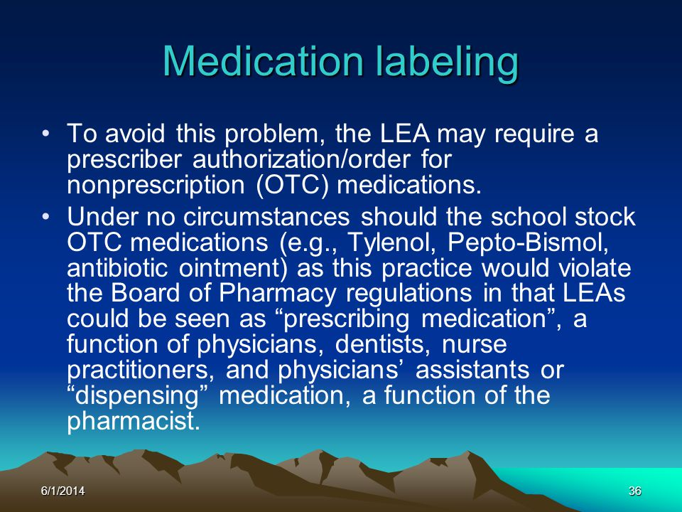 6/1/201436 Medication labeling To avoid this problem, the LEA may require a prescriber authorization/order for nonprescription (OTC) medications. Unde
