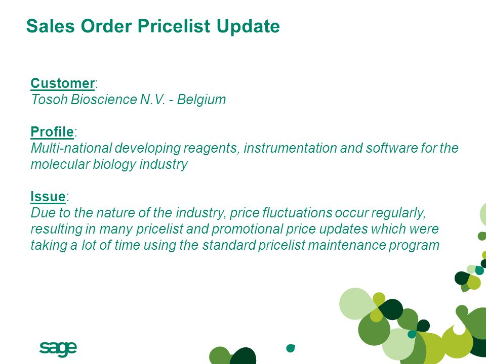 Sales Order Pricelist Update Customer: Tosoh Bioscience N.V.