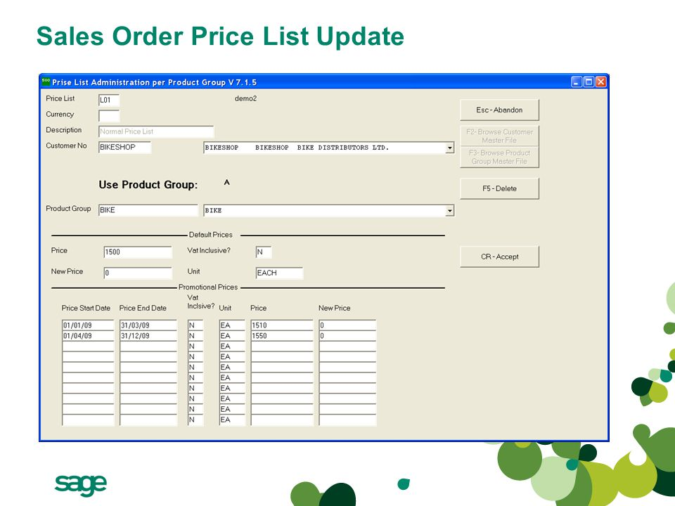 Sales Order Price List Update