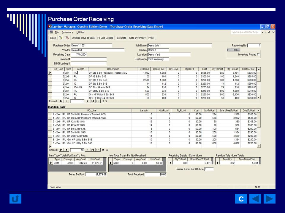 Purchase Order Receiving C