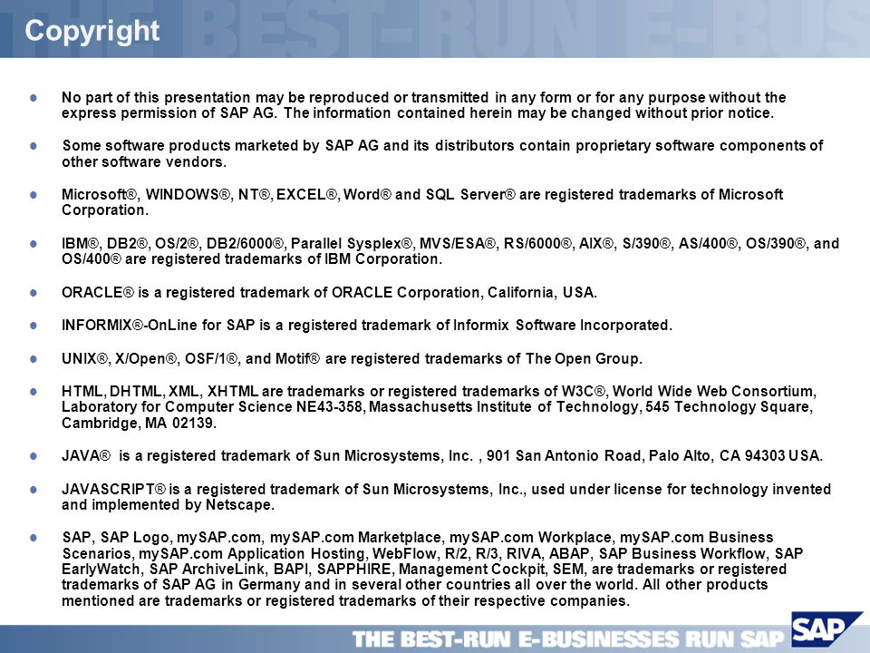 SAP PPT Title Company (Name) / 24 Copyright l No part of this presentation may be reproduced or transmitted in any form or for any purpose without the