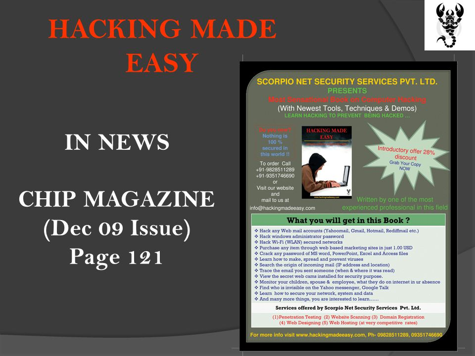HACKING MADE EASY IN NEWS CHIP MAGAZINE (Dec 09 Issue) Page 121
