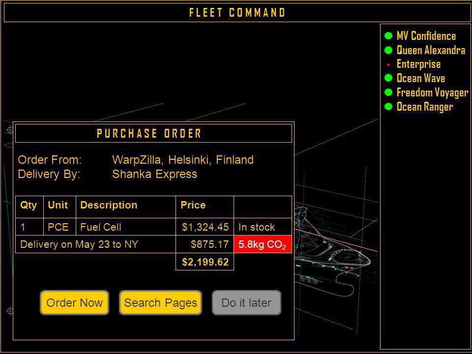 F L E E T C O M M A N D Map MV Confidence Queen Alexandra Enterprise Ocean Wave Freedom Voyager Ocean Ranger