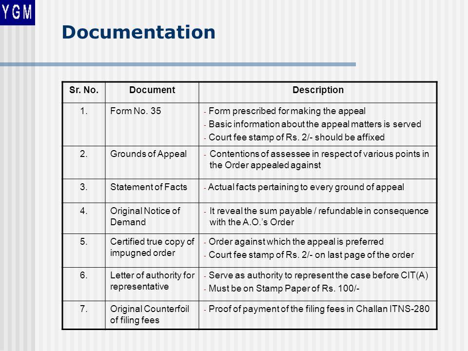 Documentation Sr. No.DocumentDescription 1.Form No.