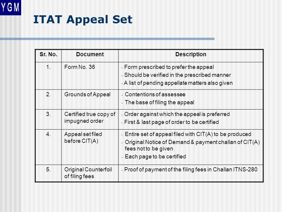 ITAT Appeal Set Sr. No.DocumentDescription 1.Form No.