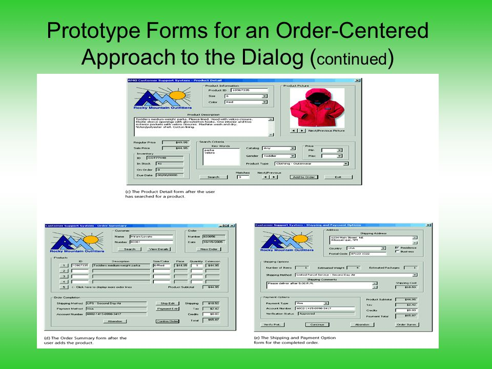 Prototype Forms for an Order-Centered Approach to the Dialog ( continued )
