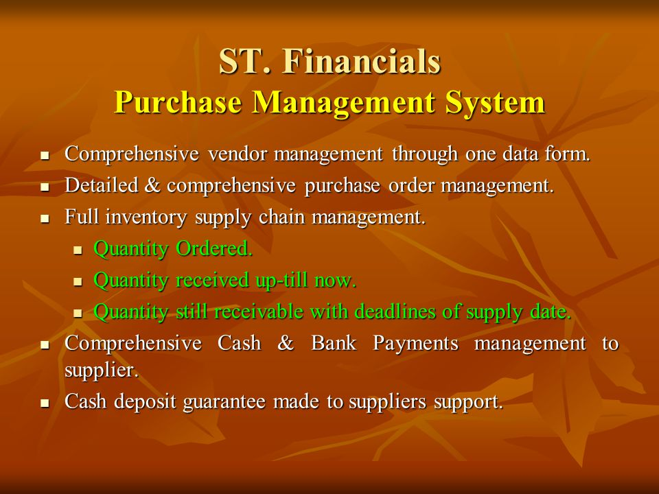 ST. Financials Inventory Control System 1.