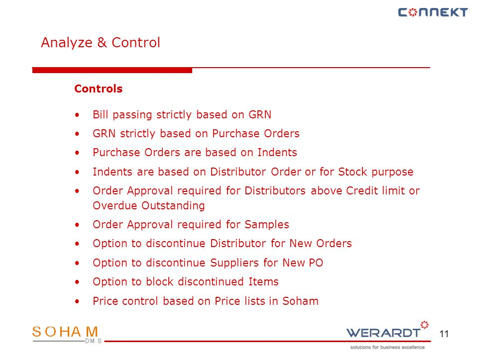 11 Controls Bill passing strictly based on GRN GRN strictly based on Purchase Orders Purchase Orders are based on Indents Indents are based on Distrib
