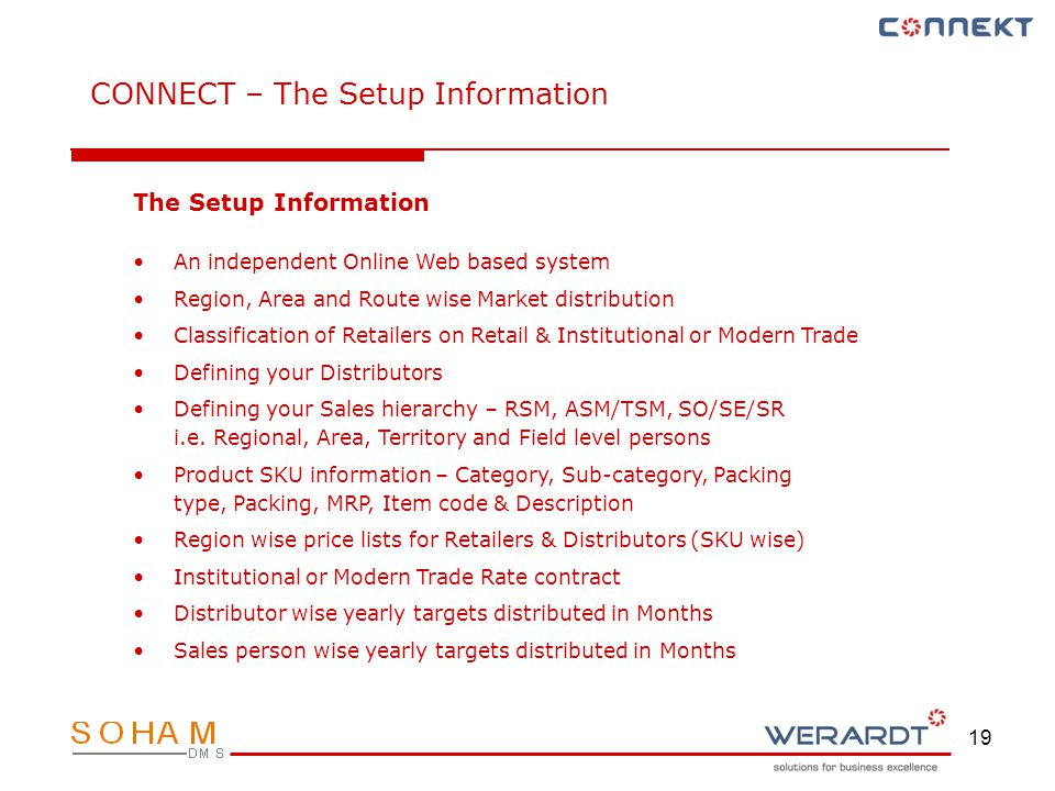 19 CONNECT – The Setup Information The Setup Information An independent Online Web based system Region, Area and Route wise Market distribution Classification of Retailers on Retail & Institutional or Modern Trade Defining your Distributors Defining your Sales hierarchy – RSM, ASM/TSM, SO/SE/SR i.e.