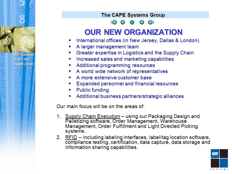 The CAPE Systems Group OUR INTERNATIONAL NETWORK Company Offices Reseller, Distributors & Partners