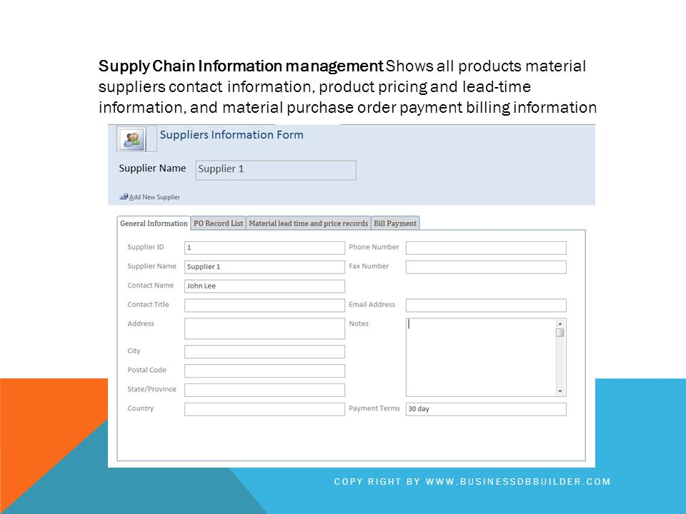 Supply Chain Information management Shows all products material suppliers contact information, product pricing and lead-time information, and material purchase order payment billing information