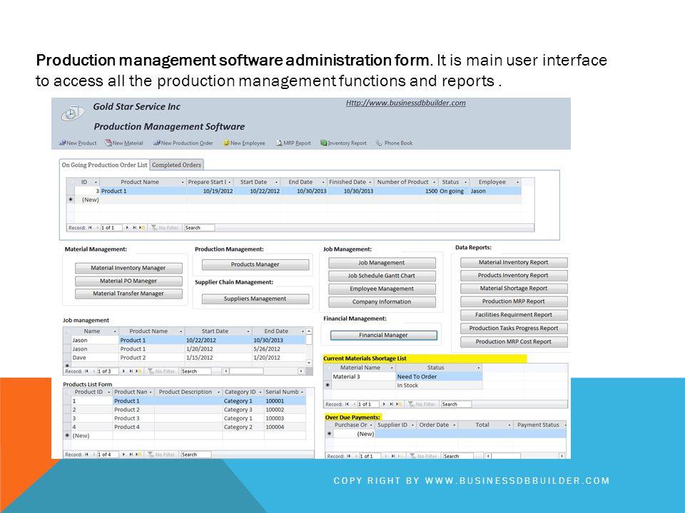 Production management software administration form.