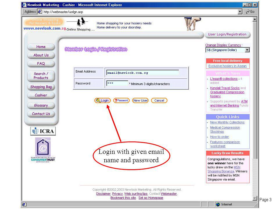 Login with given email name and password Page 3