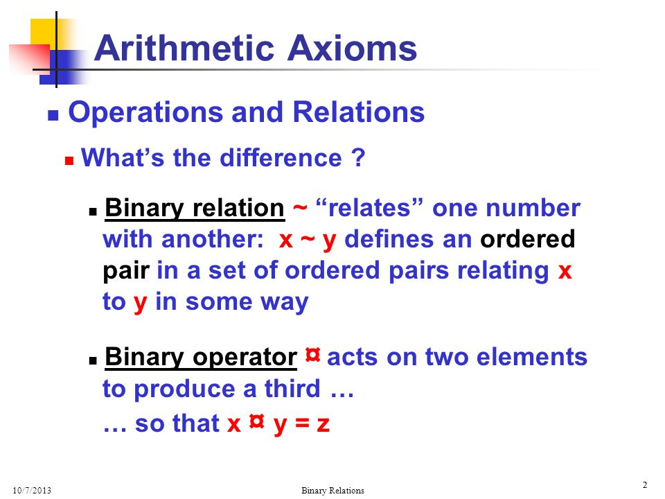 10/7/2013 Binary Relations 2 2 Operations and Relations Whats the difference .