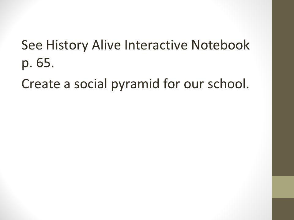 See History Alive Interactive Notebook p. 65. Create a social pyramid for our school.