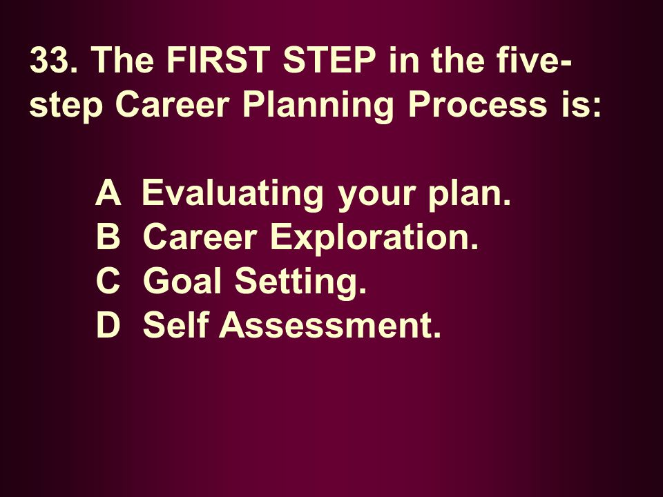 33. The FIRST STEP in the five- step Career Planning Process is: A Evaluating your plan. B Career Exploration. C Goal Setting. D Self Assessment.