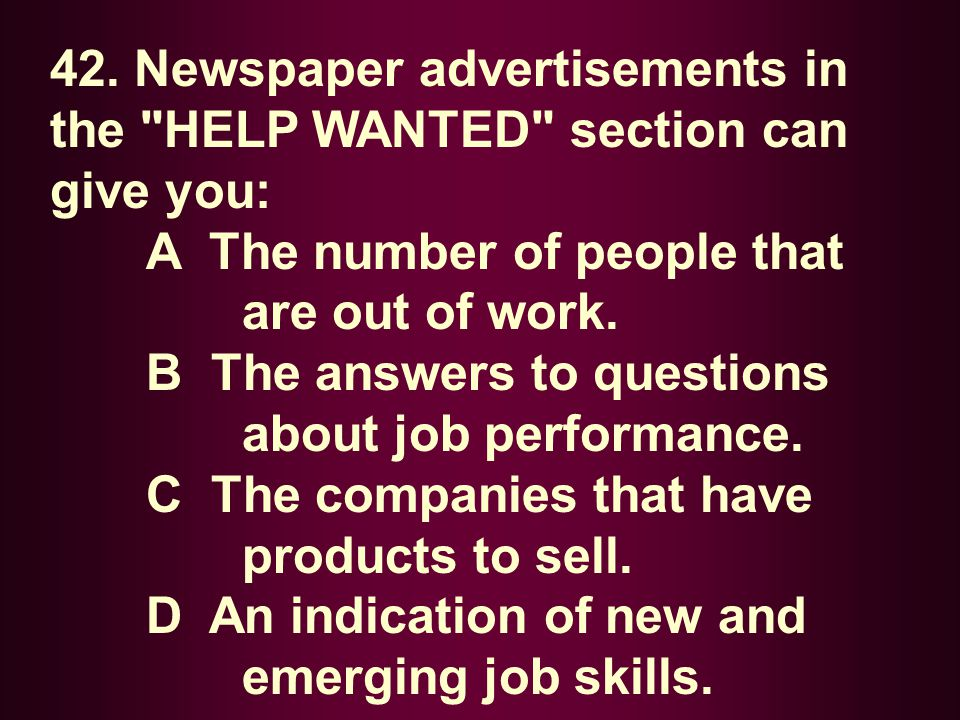 42. Newspaper advertisements in the