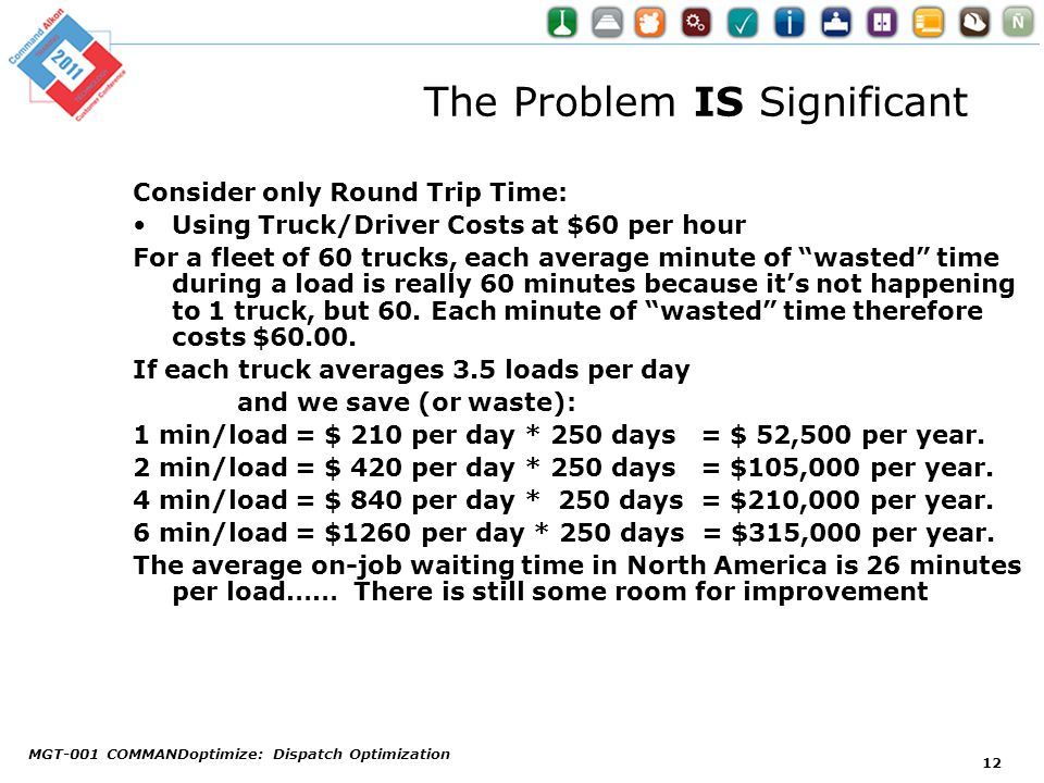 The Problem IS Significant Consider only Round Trip Time: Using Truck/Driver Costs at $60 per hour For a fleet of 60 trucks, each average minute of wa
