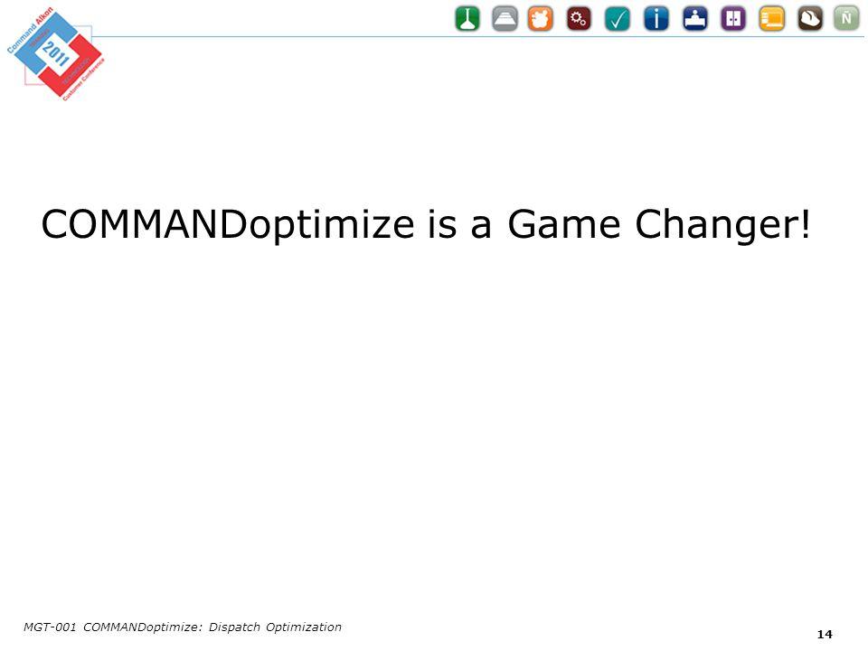COMMANDoptimize is a Game Changer! MGT-001 COMMANDoptimize: Dispatch Optimization 14