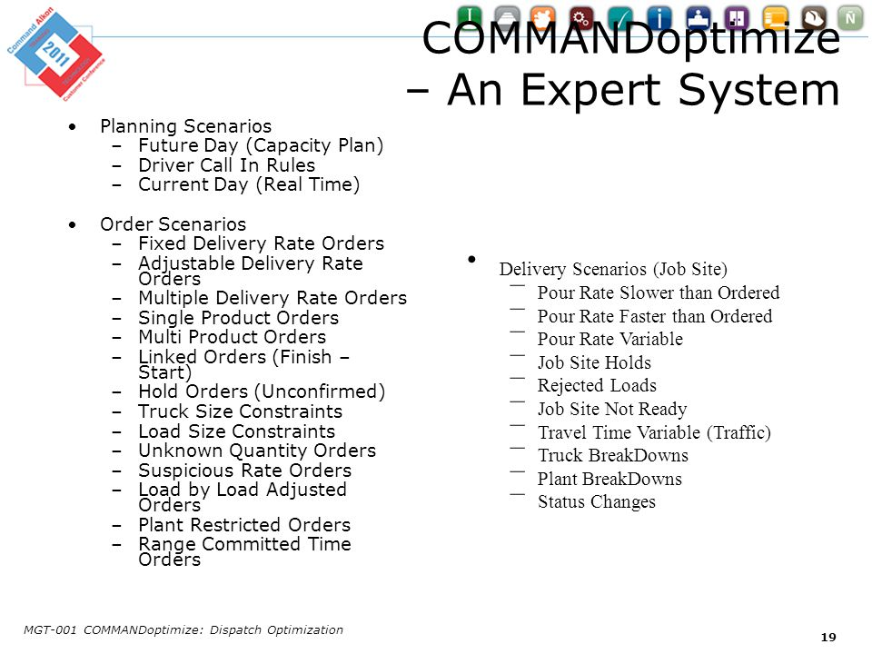 COMMANDoptimize – An Expert System Planning Scenarios –Future Day (Capacity Plan) –Driver Call In Rules –Current Day (Real Time) Order Scenarios –Fixe