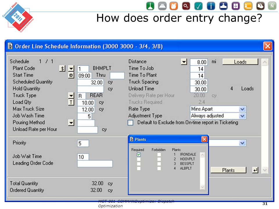 How does order entry change? MGT-001 COMMANDoptimize: Dispatch Optimization 31