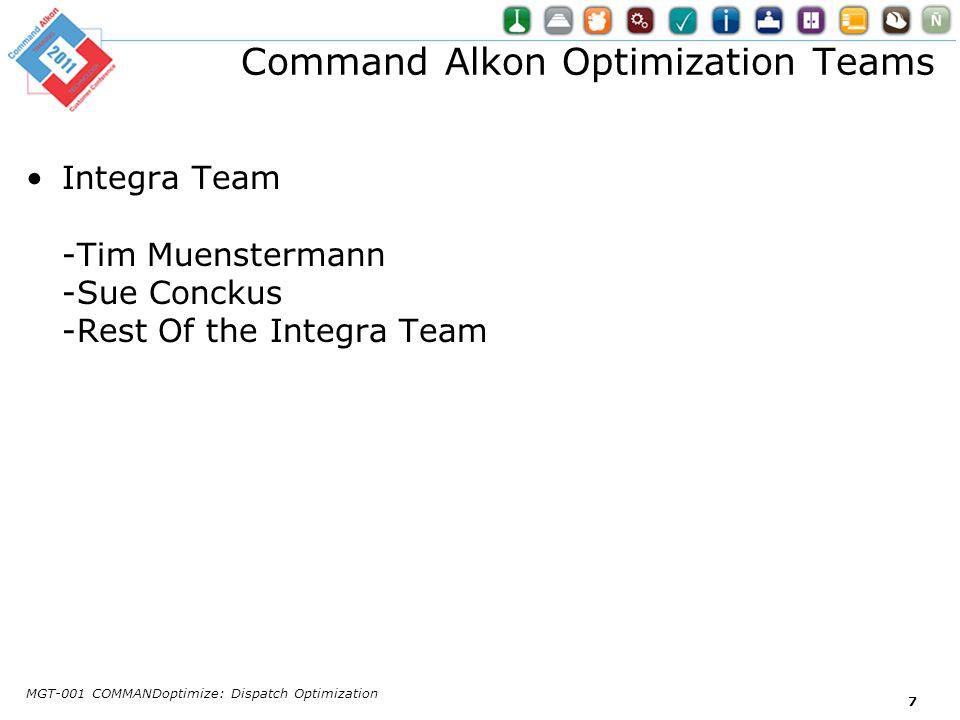 Command Alkon Optimization Teams Integra Team -Tim Muenstermann -Sue Conckus -Rest Of the Integra Team MGT-001 COMMANDoptimize: Dispatch Optimization