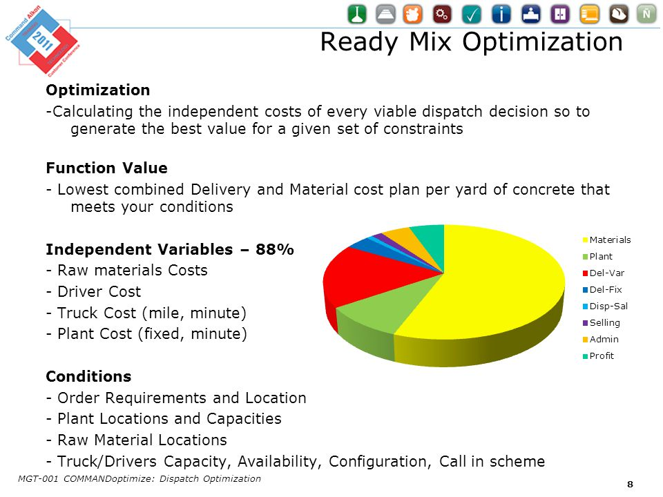 Ready Mix Optimization Optimization -Calculating the independent costs of every viable dispatch decision so to generate the best value for a given set