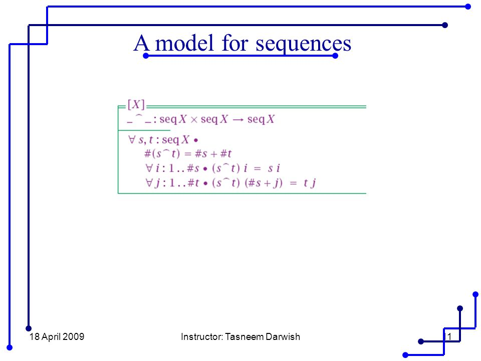 18 April 2009Instructor: Tasneem Darwish11 A model for sequences