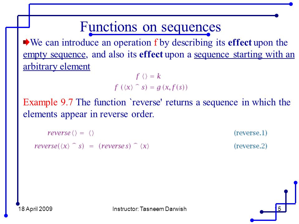 18 April 2009Instructor: Tasneem Darwish15 Functions on sequences We can introduce an operation f by describing its effect upon the empty sequence, an
