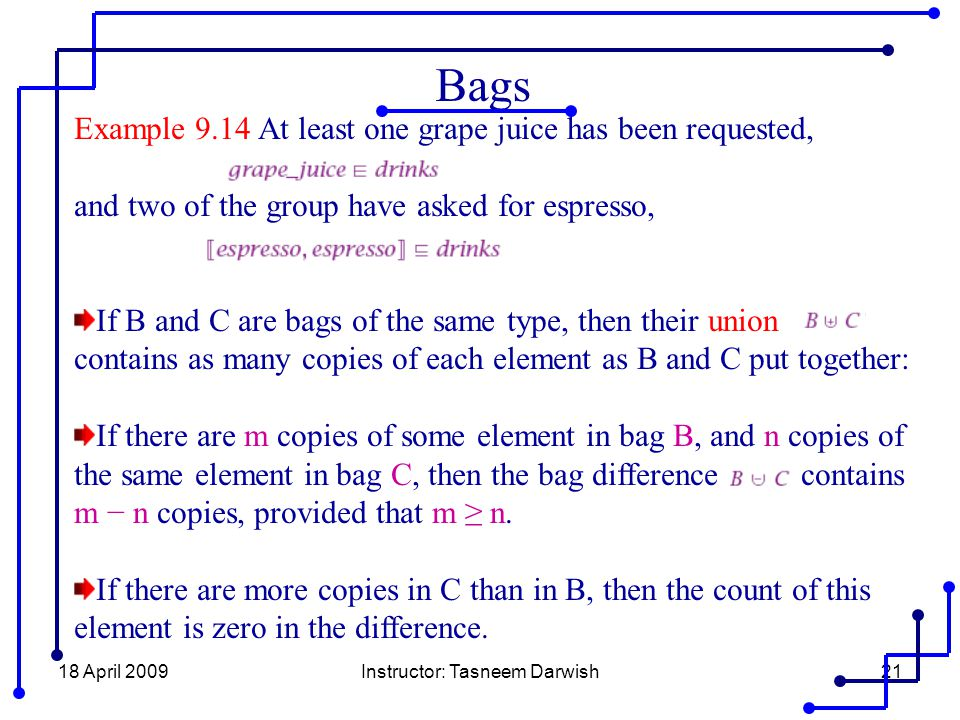 18 April 2009Instructor: Tasneem Darwish21 Bags Example 9.14 At least one grape juice has been requested, and two of the group have asked for espresso
