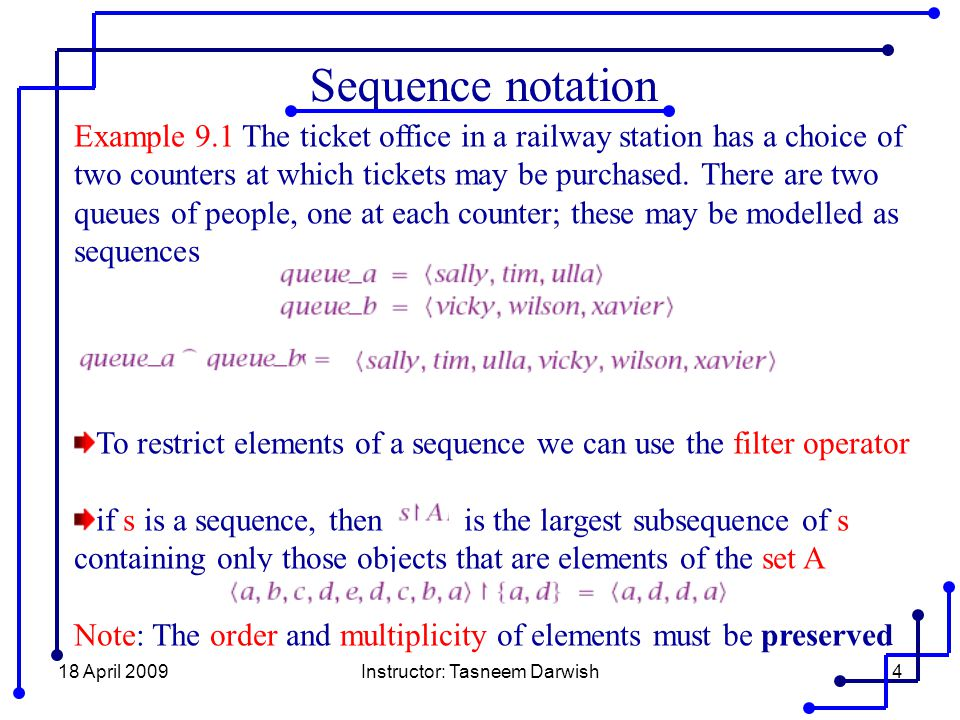 18 April 2009Instructor: Tasneem Darwish4 Sequence notation Example 9.1 The ticket office in a railway station has a choice of two counters at which t